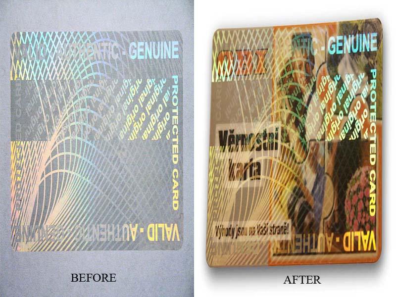 Stiker hologram transparan merupakan stiker hologram yang banyak diaplikasikan untuk ID card, ATM dan Kartu member